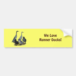 Blue Runner Duck Family Car Bumper Sticker