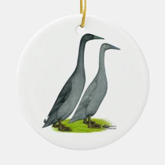 Blue Runner Ducks Ceramic Ornament