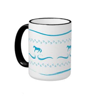Blue Running Horses Lg. Ringer Mug