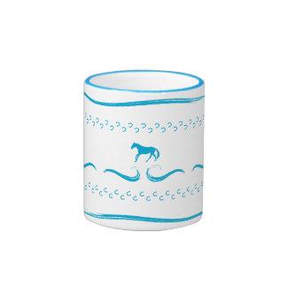 Blue Running Horses Ringer Mug