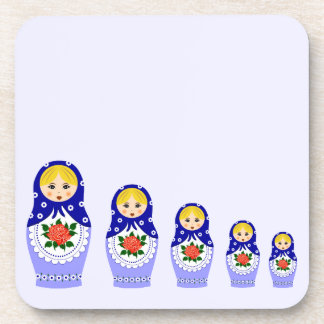 Blue russian matryoshka nesting dolls beverage coaster
