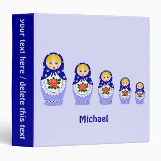 Blue russian matryoshka nesting dolls binder
