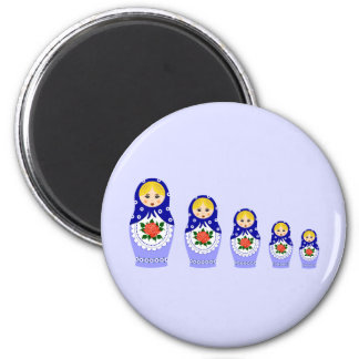 Blue russian matryoshka nesting dolls magnet