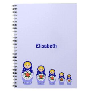 Blue russian matryoshka nesting dolls notebook