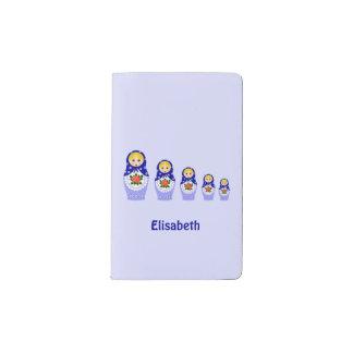 Blue russian matryoshka nesting dolls pocket moleskine notebook