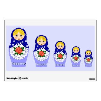 Blue russian matryoshka nesting dolls wall sticker