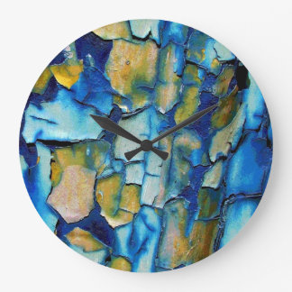 Blue Rust, And Gold Chipping Paint Wall Clock