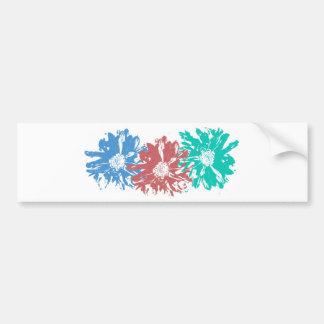 Blue, Rust and Green Flowers Bumper Sticker