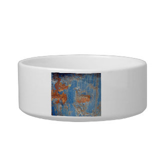 Blue Rust Metal Texture Cat Food Bowls