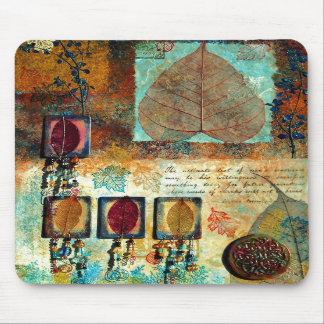 Blue & Rust Multi-Media Fall Collage Mouse Pads