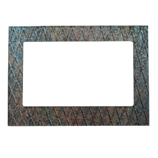 Blue Rusted Diamond Shape Metal Pattern Magnetic Picture Frame