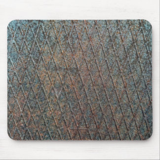 Blue Rusted Diamond Shape Metal Pattern Mouse Pad