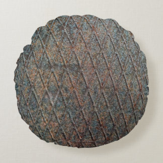 Blue Rusted Diamond Shape Metal Pattern Round Pillow