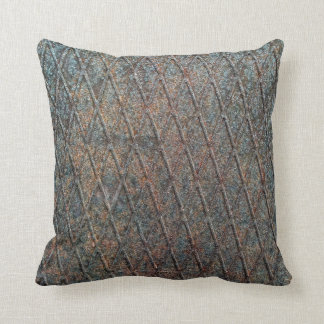 Blue Rusted Diamond Shape Metal Pattern Throw Pillow