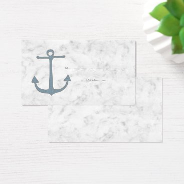 Beach Themed Blue Rustic Anchor Wedding Place Cards