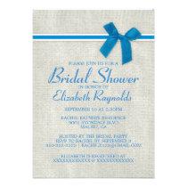 Blue Rustic Burlap Bridal Shower Invitations Announcements