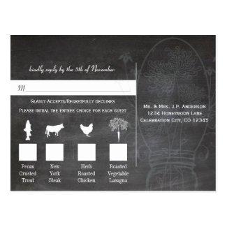 Blue Rustic Chalkboard Mason Jar Menu Choice RSVP Post Card