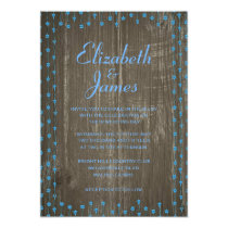 Blue Rustic Country Barn Wood Wedding Invitations