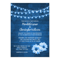 Blue Rustic Daisy String Lights Wedding Invitation