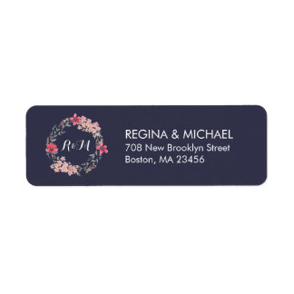 Blue Rustic Floral Wreath Monogram Address Label