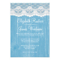 Blue Rustic Lace & Barn Wood Wedding Invitations Personalized Invites