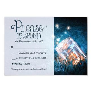 "blue rustic lights mason jar wedding RSVP 3.5"" X 5"" Invitation Card"