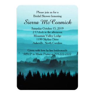 Blue Rustic Mountain Bridal Shower Invitation