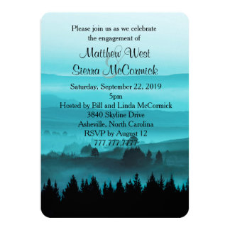 """Blue Rustic Mountain Engagement Party Invitation 4.5"""" X 6.25"""" Invitation Card"""
