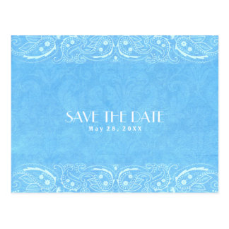 Blue Rustic Paisley Country Western Save The Date Postcard