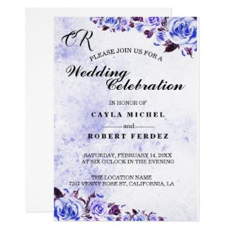 Royal Blue and Purple Wedding Invitations with Roses