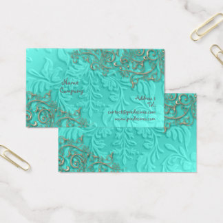 Blue + rustic silver swirls business card
