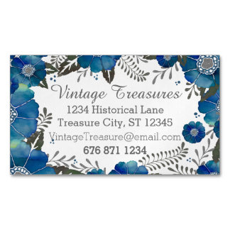 blue rustic watercolor floral pattern business card magnet