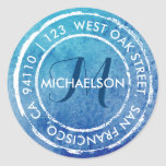 Blue Rustic Watercolor Monogram   Round Address Classic Round Sticker