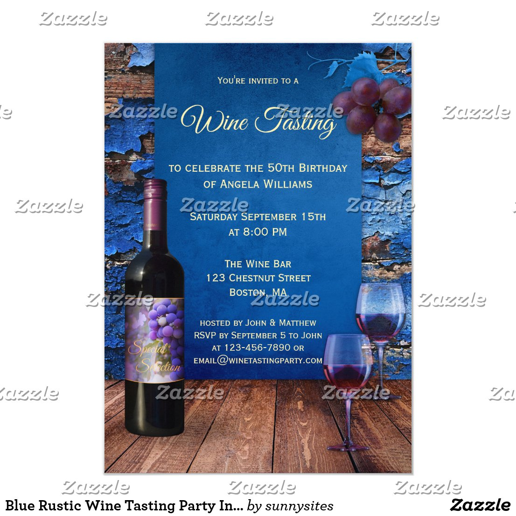 Blue Rustic Wine Tasting Party Invitation