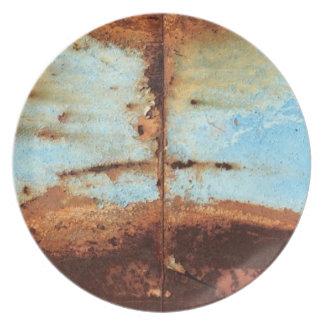 Blue Rusty Metal Plate