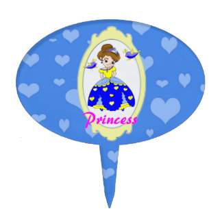 Blue sad heart princess illustration cake topper