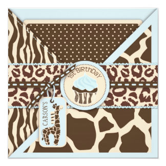 Blue Safari Animal Print & Cupcake First Birthday Card