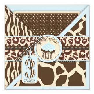 Blue Safari Animal Print & Cupcake Third Birthday Card
