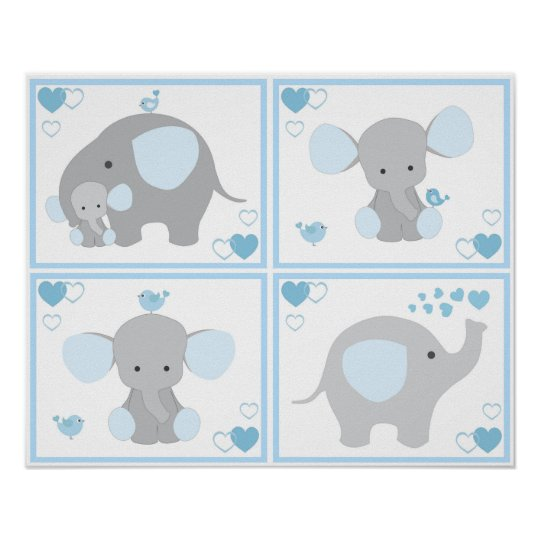 Blue Safari Elephant Boy Nursery Wall Art Prints