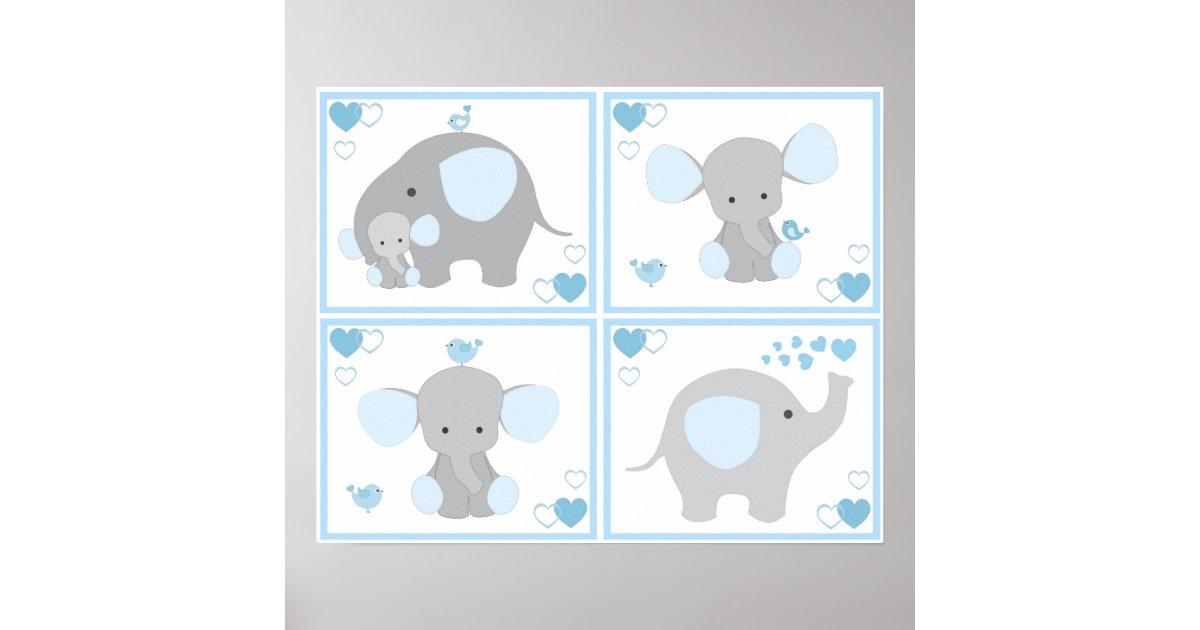 Blue Safari Elephant Boy Nursery Wall Art Prints Zazzle