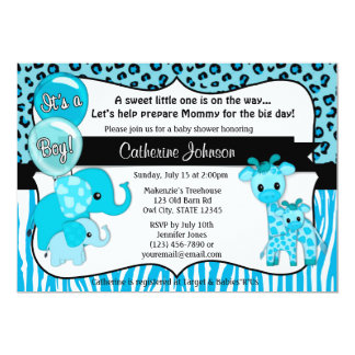 Blue Safari Elephant Giraffe Baby Shower Card