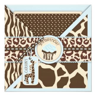 Blue Safari Giraffe & Cupcake Third Birthday Card