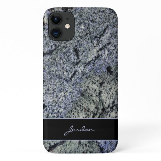 Blue & Sage Green Polished Granite with Name Stone iPhone 11 Case