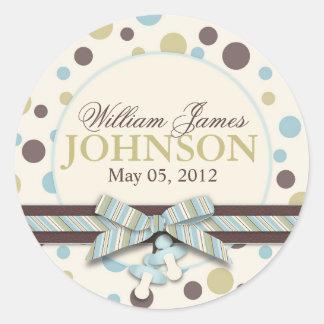 Blue Sage Polka Dots Announcement Round Stickers