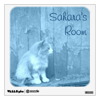 Blue Sahara Cat Wall Decal *Personalize*
