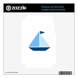 Blue Sail Boat Decal For The iPhone 2G