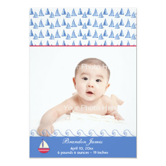 Blue Sail Boats Baby Photo Announcement