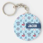 Blue Sailboat Anchor Nautical Theme Pattern Basic Round Button Keychain