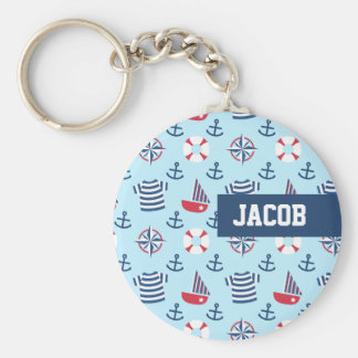 Blue Sailboat Anchor Nautical Theme Pattern Keychain