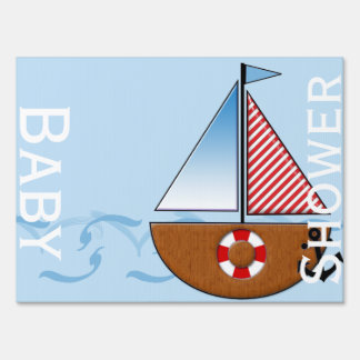 Blue Sailboat Baby Shower Yard Sign